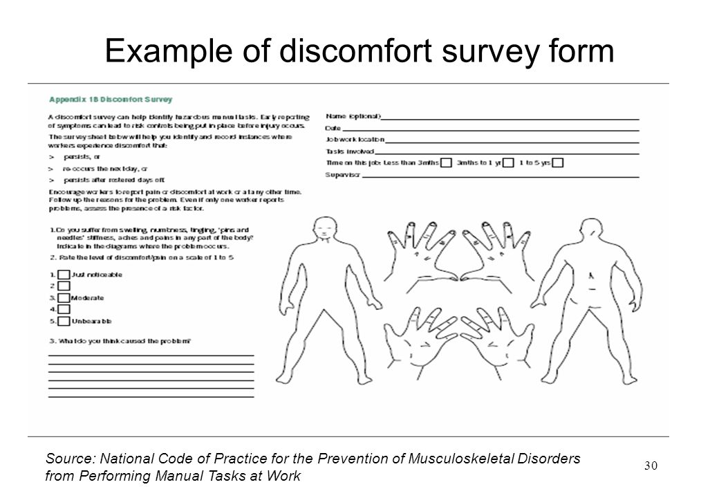 Example of discomfort survey form