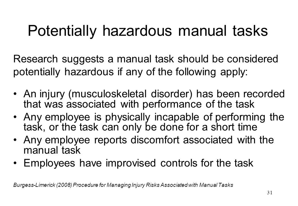 Potentially hazardous manual tasks