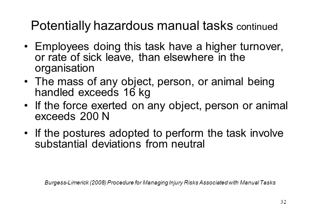 Potentially hazardous manual tasks continued