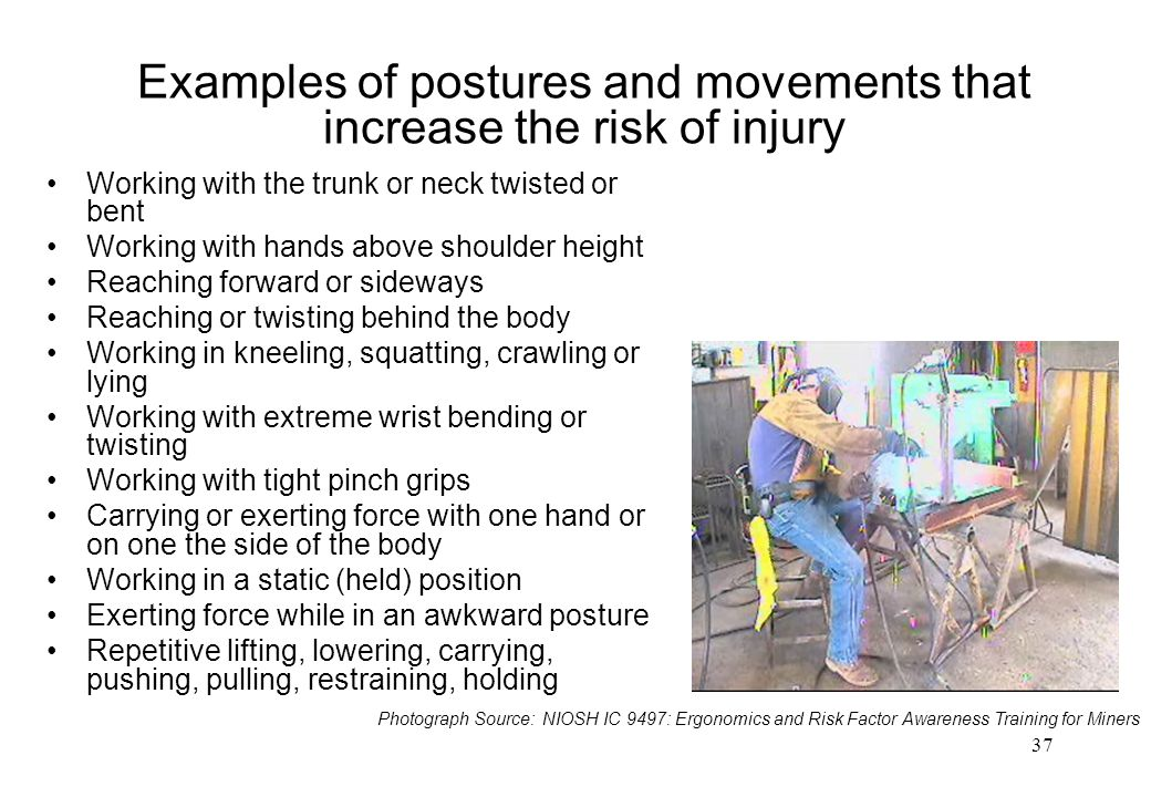 Examples of postures and movements that increase the risk of injury