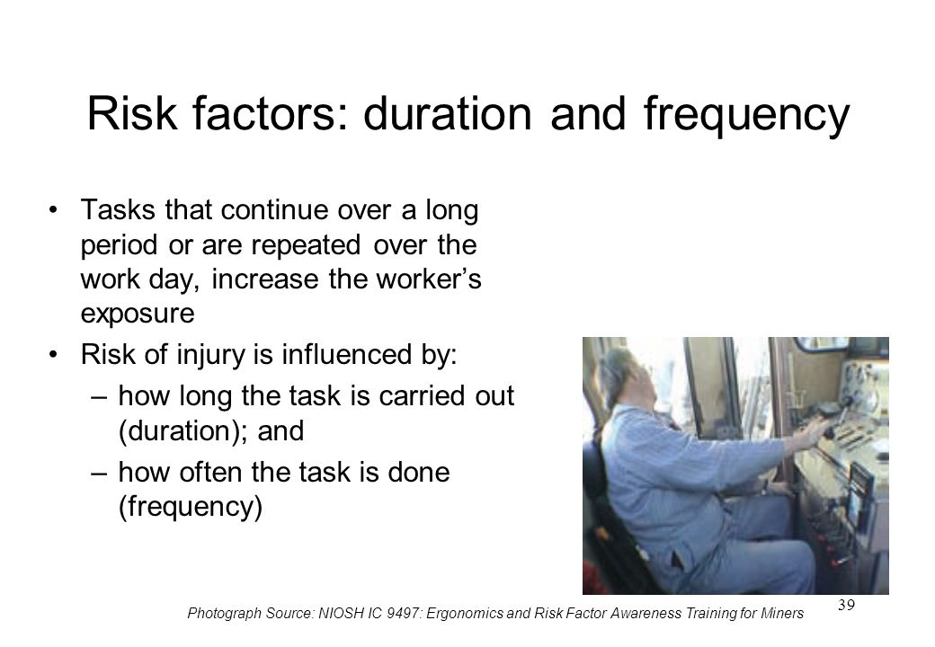 Risk factors: duration and frequency