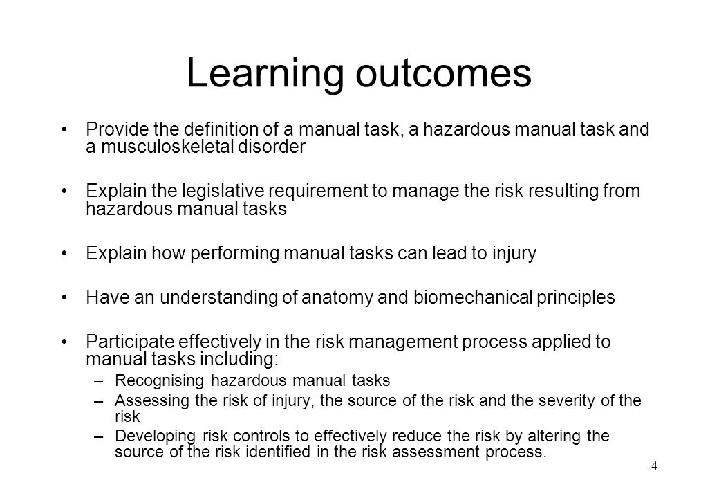 Learning outcomes Provide the definition of a manual task, a hazardous manual task and a musculoskeletal disorder.