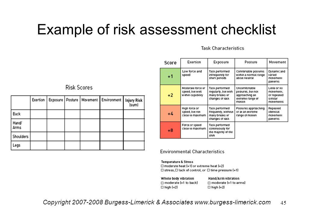 manual handling risk assessment example
