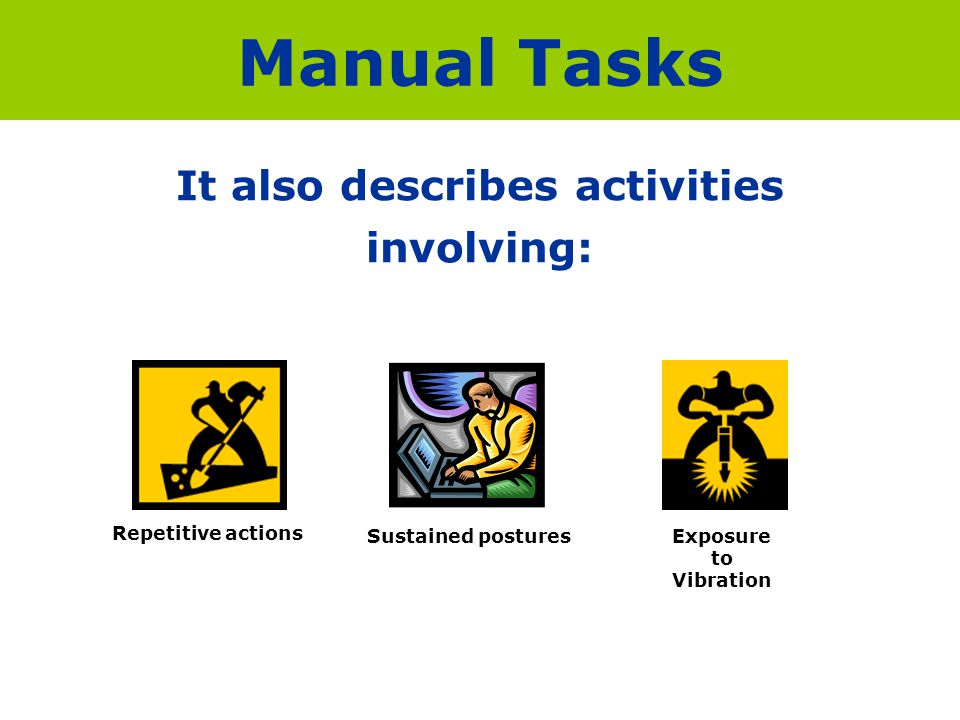 It also describes activities involving: