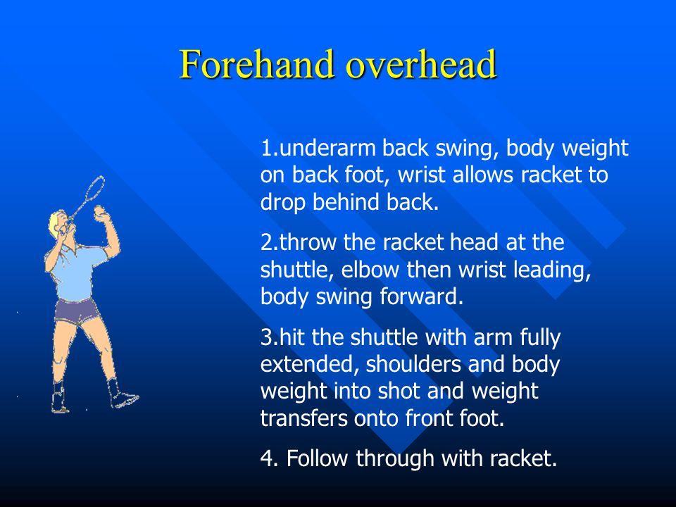Forehand overhead 1.underarm back swing, body weight on back foot, wrist allows racket to drop behind back.