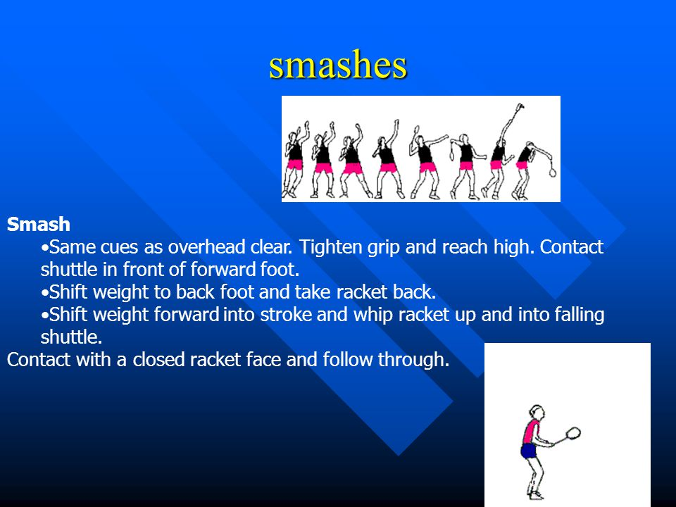 smashes Smash. Same cues as overhead clear. Tighten grip and reach high. Contact shuttle in front of forward foot.