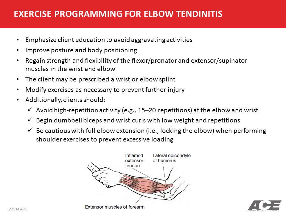 EXERCISE PROGRAMMING FOR ELBOW TENDINITIS