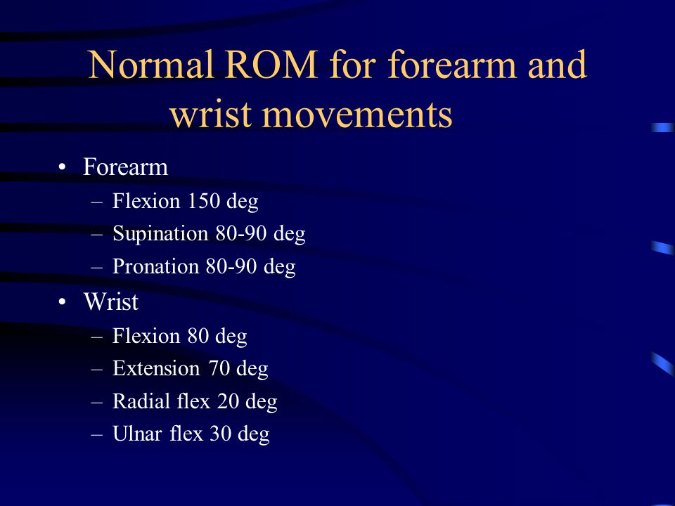 Normal ROM for forearm and wrist movements