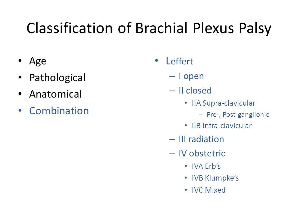 Classification of Brachial Plexus Palsy