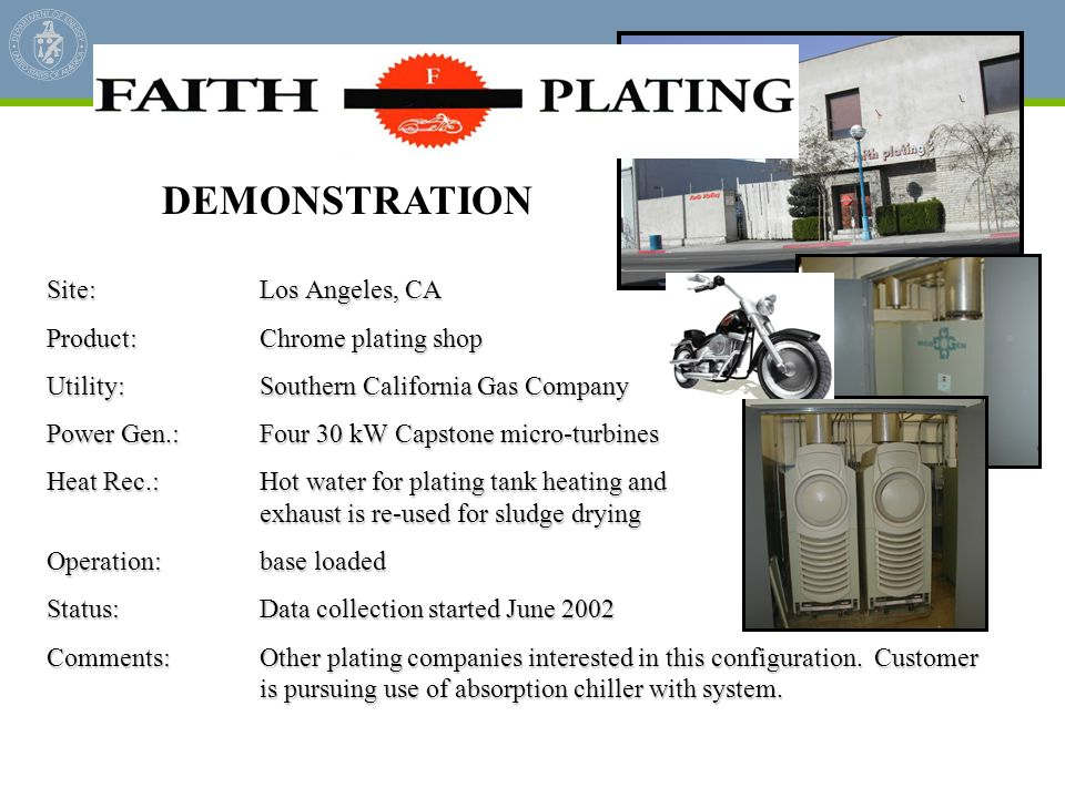 DEMONSTRATION Site: Los Angeles, CA Product: Chrome plating shop