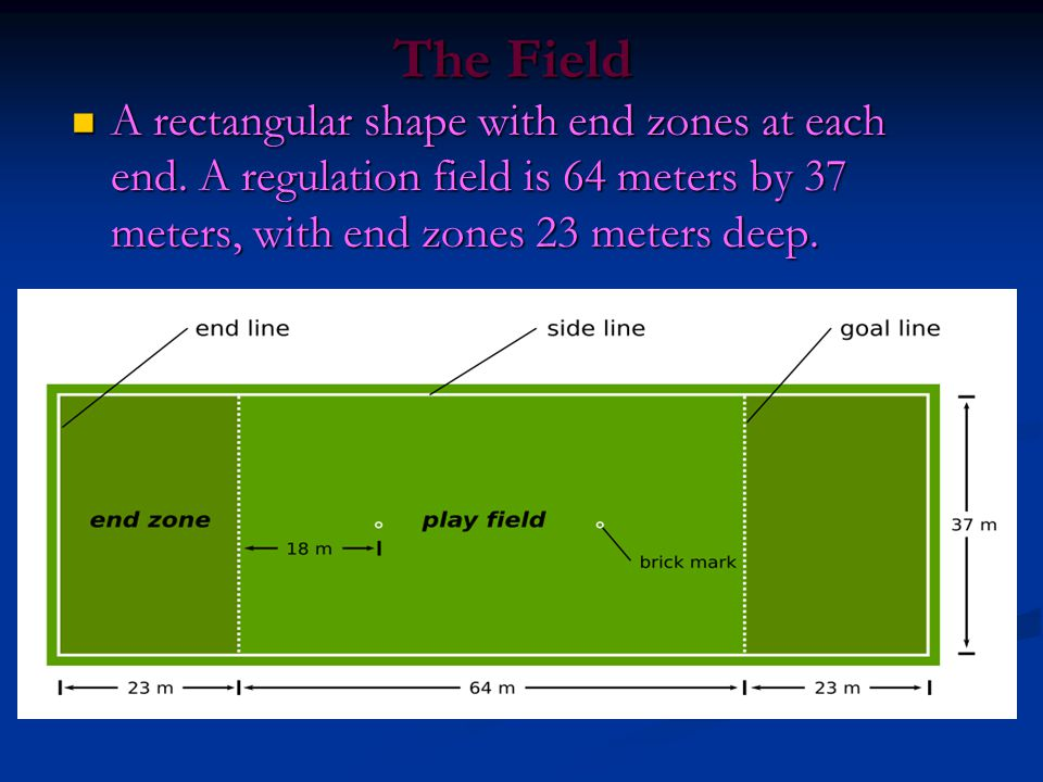 The Field A rectangular shape with end zones at each end.