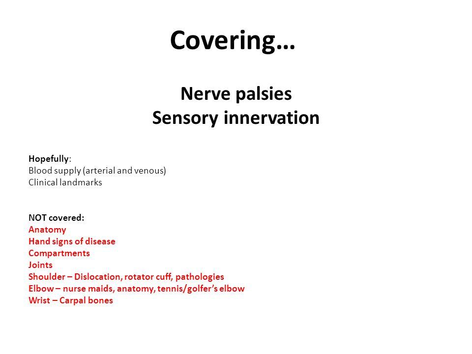 Covering… Nerve palsies Sensory innervation Hopefully: