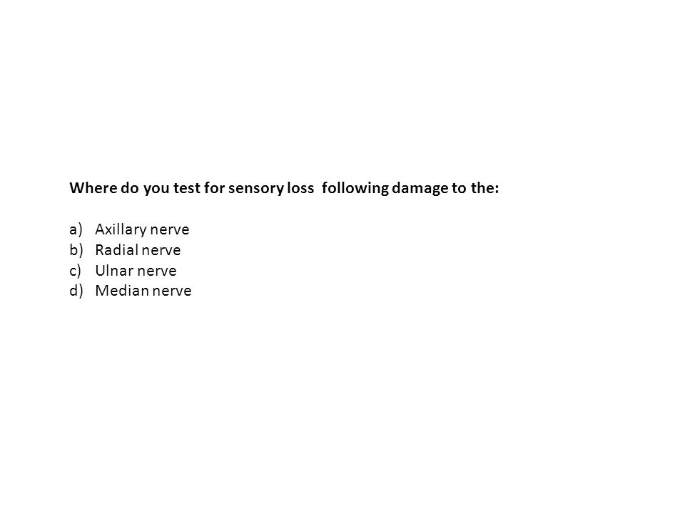 Where do you test for sensory loss following damage to the: