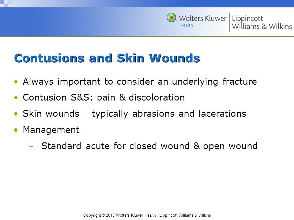 Contusions and Skin Wounds
