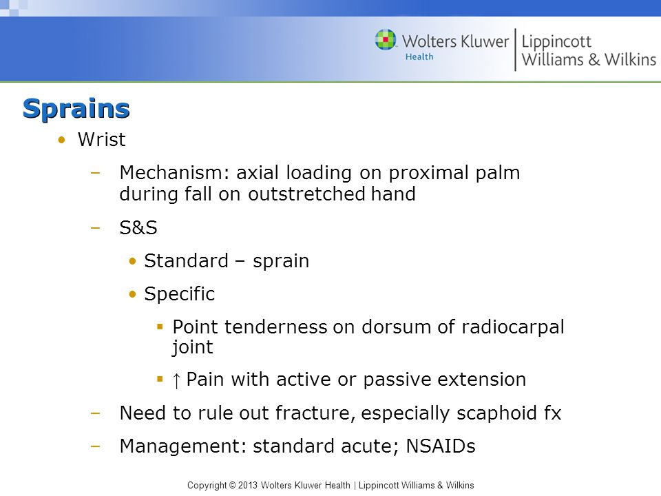 Sprains Wrist. Mechanism: axial loading on proximal palm during fall on outstretched hand. S&S. Standard – sprain.
