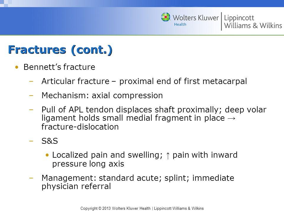 Fractures (cont.) Bennett's fracture