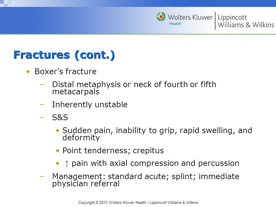 Fractures (cont.) Boxer's fracture