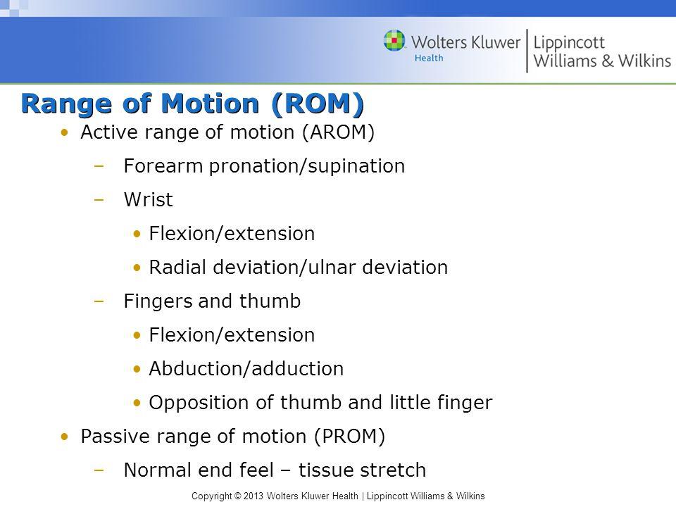 Range of Motion (ROM) Active range of motion (AROM)