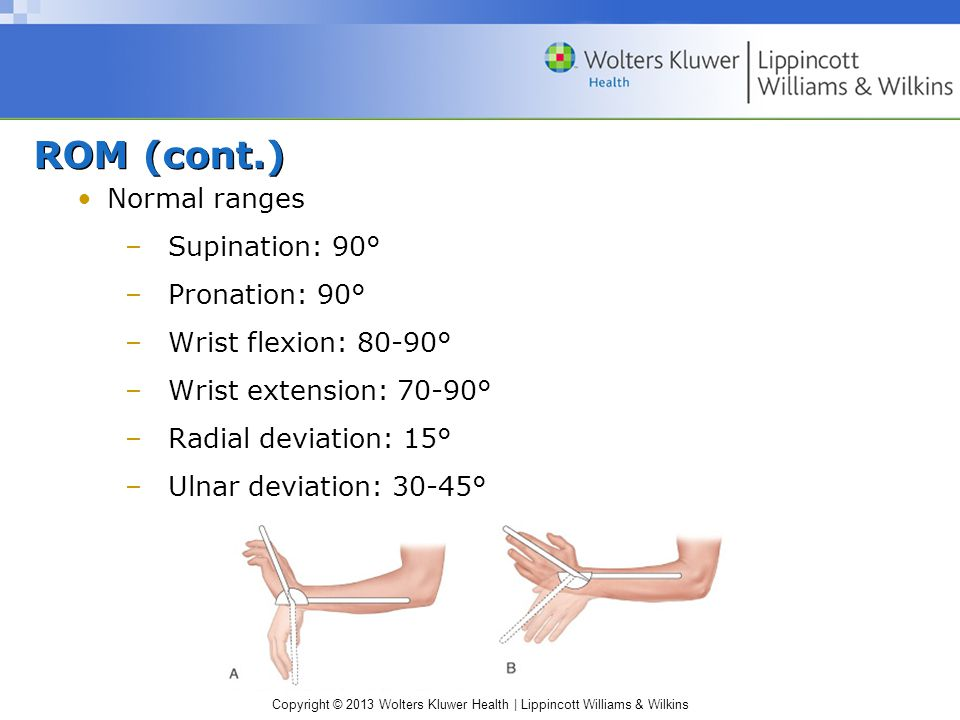 ROM (cont.) Normal ranges Supination: 90° Pronation: 90°
