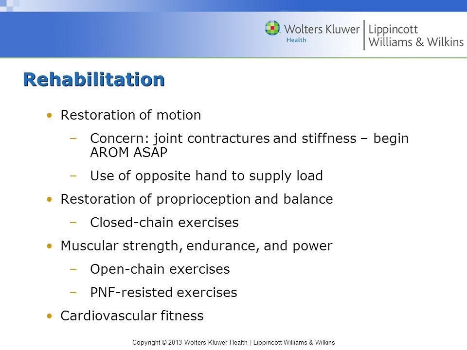 Rehabilitation Restoration of motion