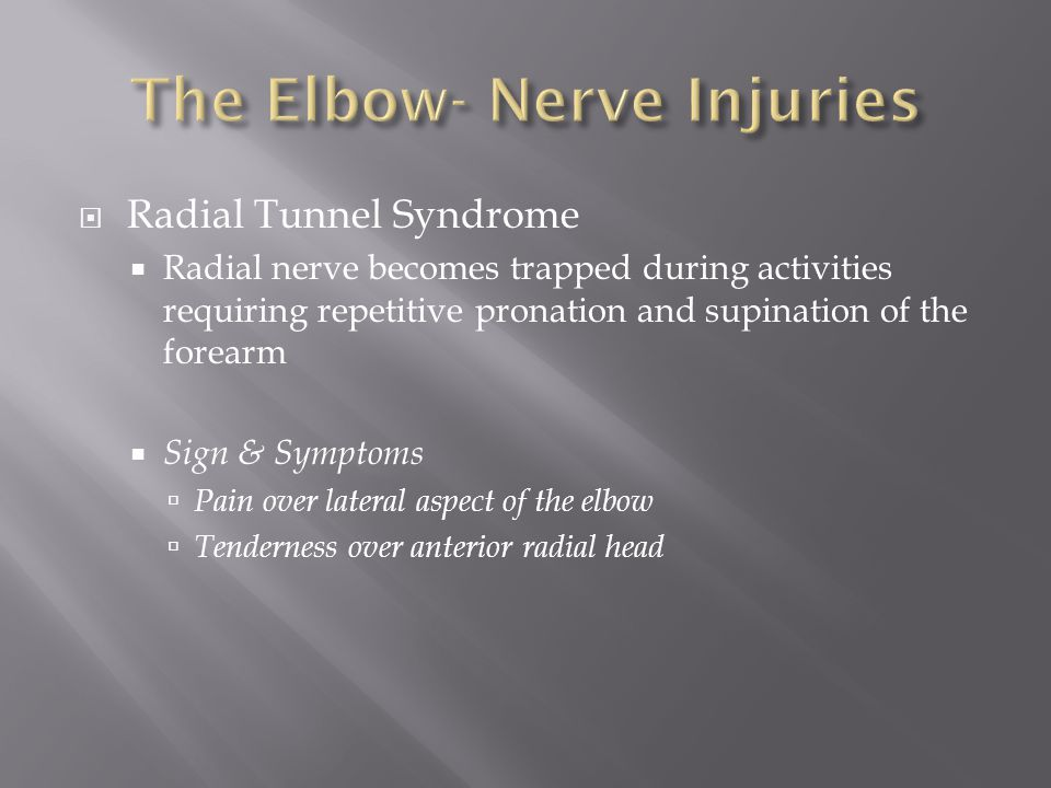The Elbow- Nerve Injuries