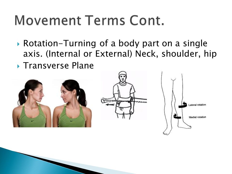 Movement Terms Cont. Rotation-Turning of a body part on a single axis. (Internal or External) Neck, shoulder, hip.
