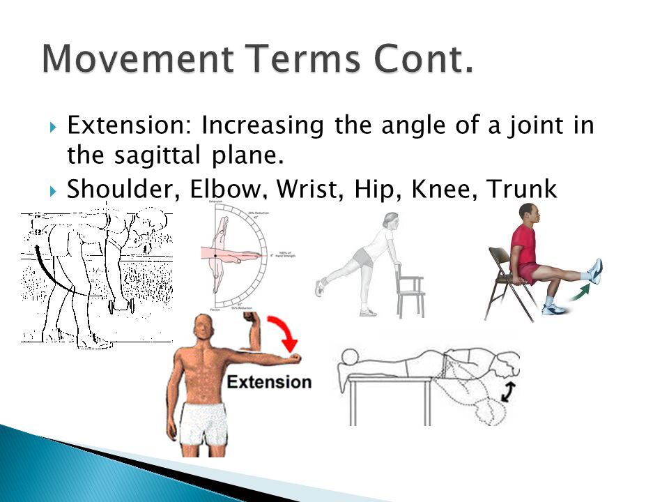 Movement Terms Cont. Extension: Increasing the angle of a joint in the sagittal plane.