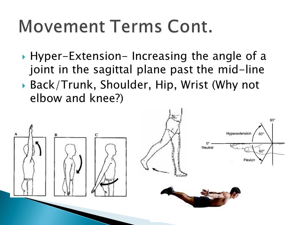 Movement Terms Cont. Hyper-Extension- Increasing the angle of a joint in the sagittal plane past the mid-line.