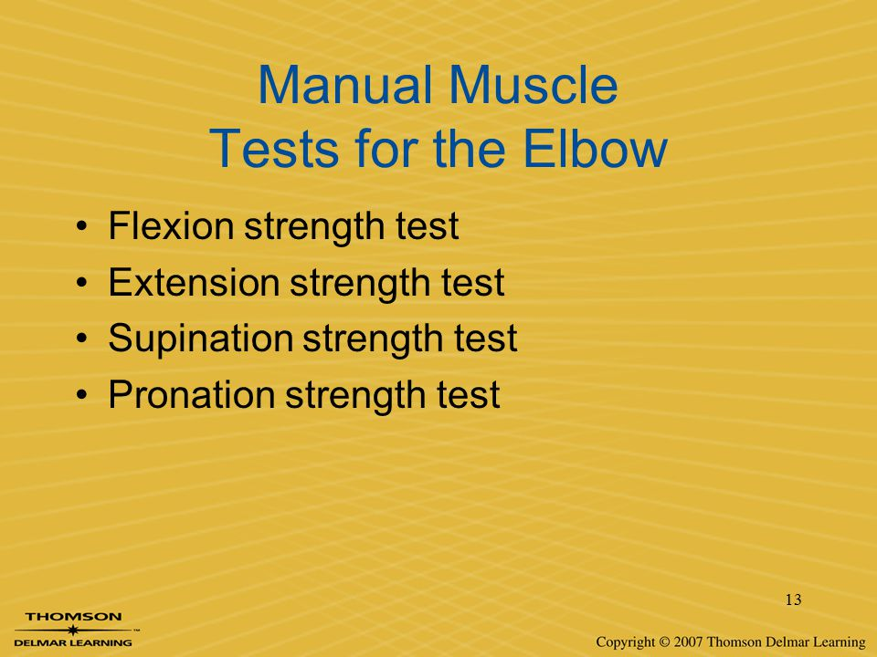 Manual Muscle Tests for the Elbow