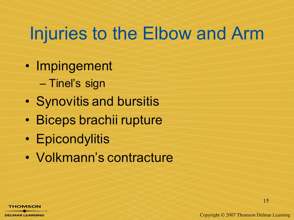 Injuries to the Elbow and Arm