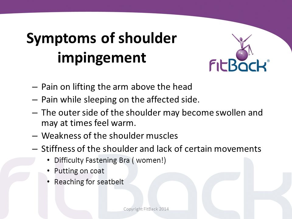 Symptoms of shoulder impingement