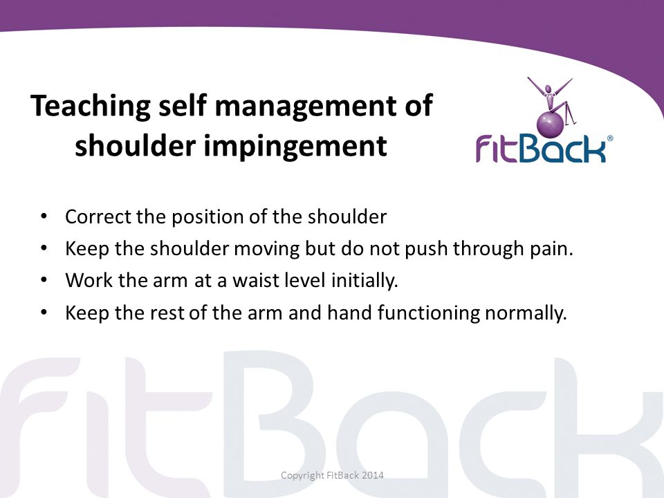 Teaching self management of shoulder impingement