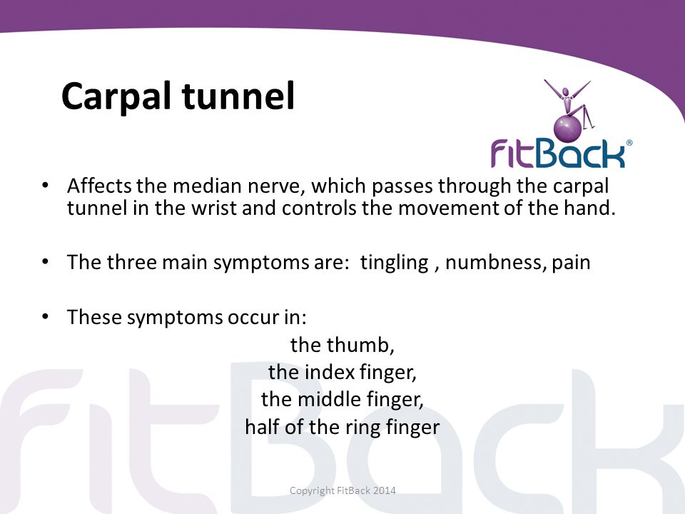 Carpal tunnel Affects the median nerve, which passes through the carpal tunnel in the wrist and controls the movement of the hand.