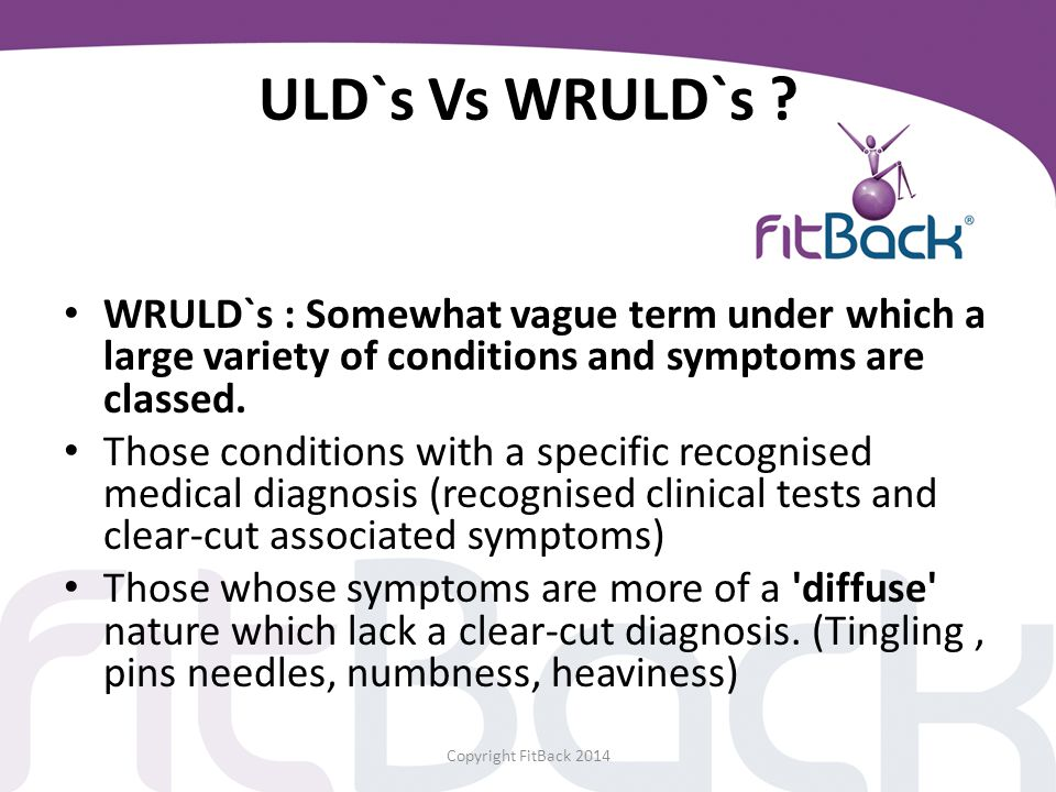 ULD`s Vs WRULD`s WRULD`s : Somewhat vague term under which a large variety of conditions and symptoms are classed.