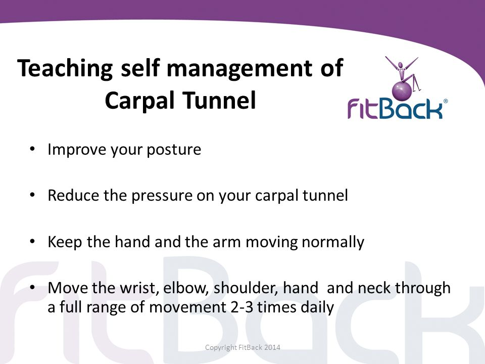 Teaching self management of Carpal Tunnel
