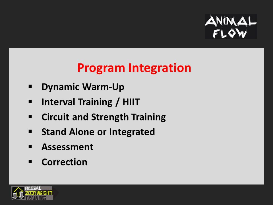 Program Integration Dynamic Warm-Up Interval Training / HIIT