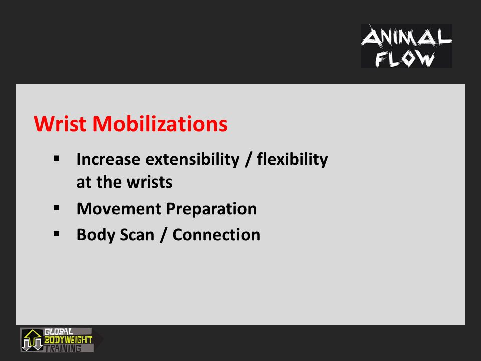Wrist Mobilizations Increase extensibility / flexibility at the wrists