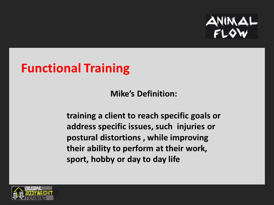 Functional Training Mike's Definition: