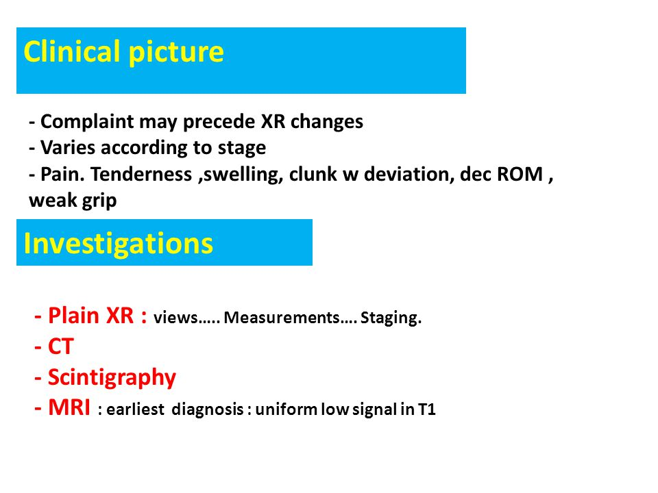 Clinical picture Investigations