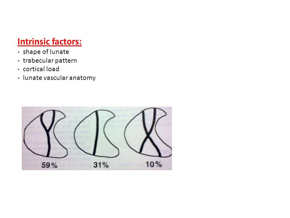 Intrinsic factors: - shape of lunate - trabecular pattern