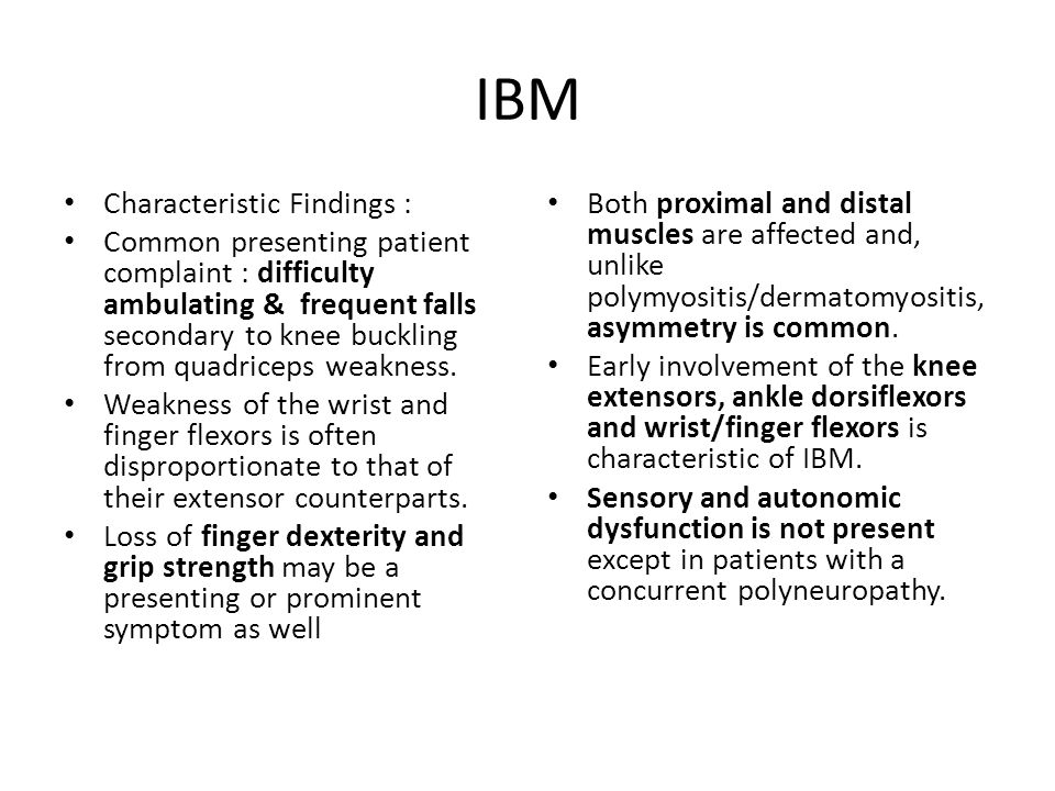 IBM Characteristic Findings :
