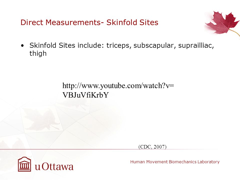 Direct Measurements- Skinfold Sites