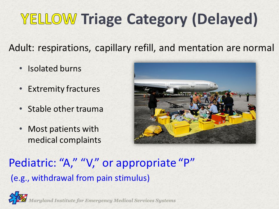 YELLOW Triage Category (Delayed)
