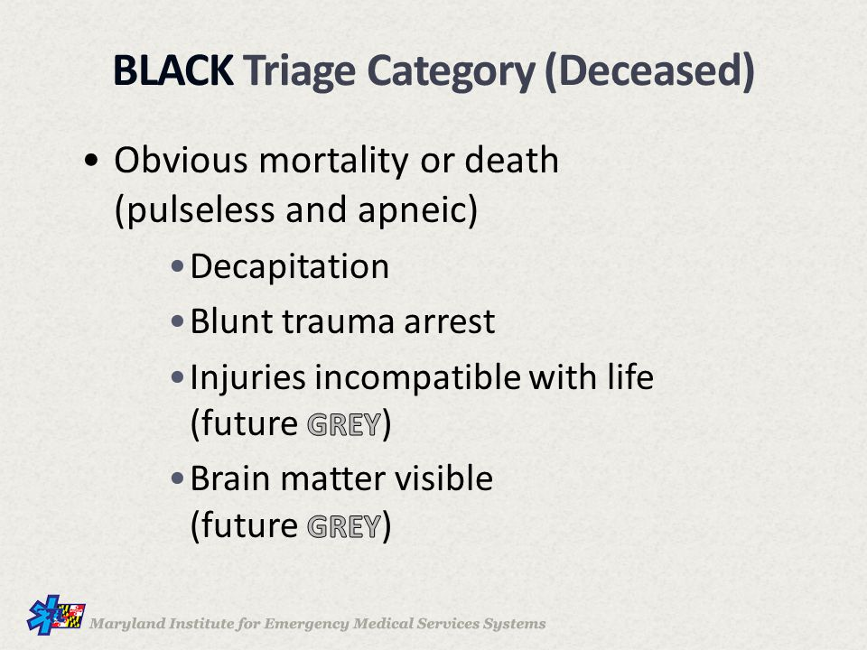 BLACK Triage Category (Deceased)