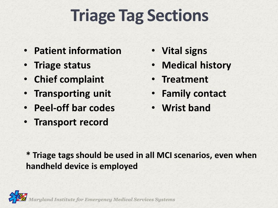 Triage Tag Sections Patient information Vital signs Triage status
