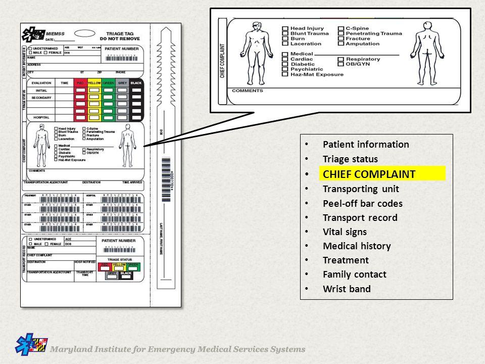 CHIEF COMPLAINT Patient information Triage status Transporting unit