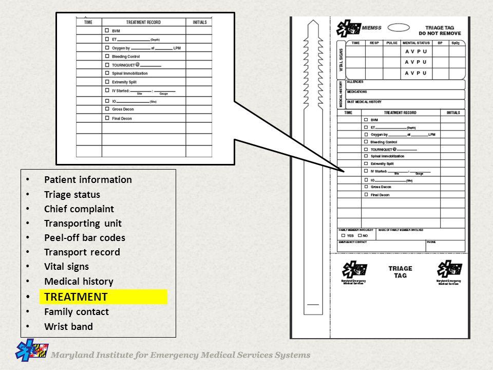 TREATMENT Patient information Triage status Chief complaint