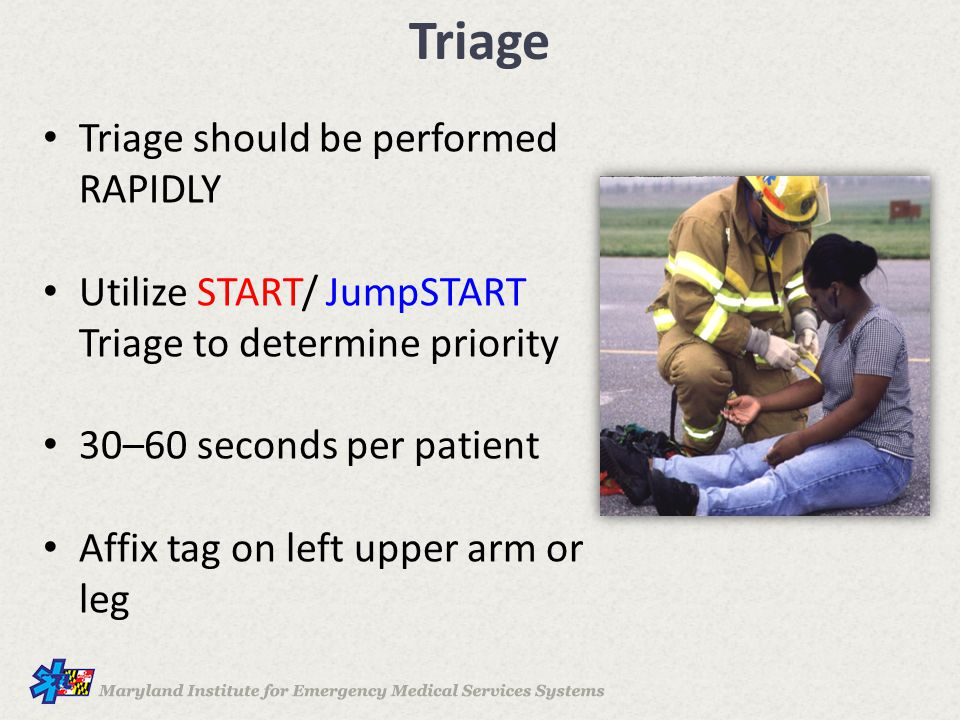 Triage Triage should be performed RAPIDLY