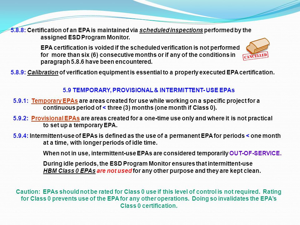 5.9 TEMPORARY, PROVISIONAL & INTERMITTENT- USE EPAs