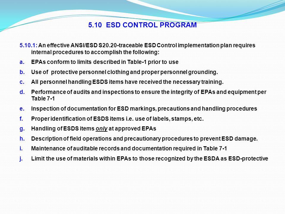 5.10 ESD CONTROL PROGRAM